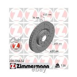 2 Brake Disc Zimmermann 230.2366.52 Brake Discussion Sport Coat Z