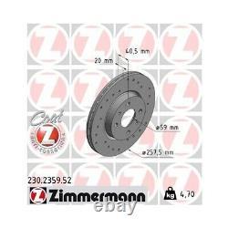 2 Zimmermann Brake Disc 230.2359.52 Frein Sport Coat Z Disc