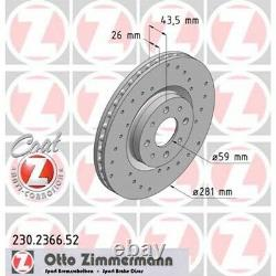 2 Zimmermann Brake Discs Sport Front For Alfa Romeo Mito Fiat Bravo Stilo