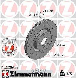2x Zimmermann Brake Disc Fiat Stilo Doblo 119 192 198 Bravo II