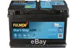 Fulmen Starter Battery 70ah / 760a For Nissan Qashqai Audi A3 Q3 Fk700