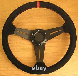 Leather True Sports Direction Wheel Red Couture Daim Finish 350mm Pcd