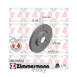 2 Disque de frein ZIMMERMANN 230.2359.52 DISQUE DE FREIN SPORT COAT Z