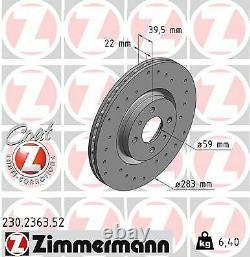 2x ZIMMERMANN Disque de frein VORNE pour LANCIA DELTA II 836 pour FIAT PUNTO 188