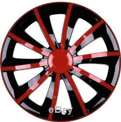 4x Premium Design Enjoliveurs Éblouissement Graal 15 Pouces #53 Rouge Noir