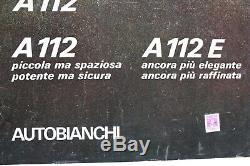 AFFICHE ANCIENNE ORIGINALE AUTOBIANCHI A112 ABARTH garage fiat lancia alfa romeo