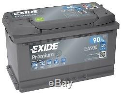 Batterie Exide EA900 12v 90ah 760A 315x175x190mm varta F17 F18