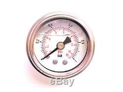 Rsr Pression de Carburant Afficher Manomètre De 1BAR Ölgefüllt Benzindruckmesser