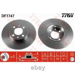 TRW 2x Disques de Frein Plein Peint Noir DF1747